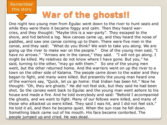 Remember this story                 War of the ghosts!!One night two young men from Egulac went down to the river to hunt ...