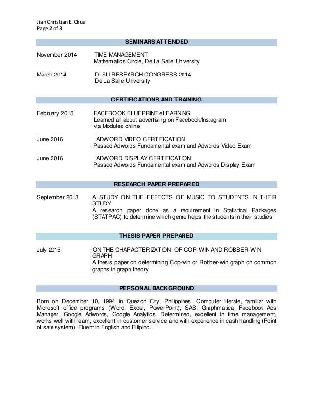 Resume - Chua, Jian Christian E.