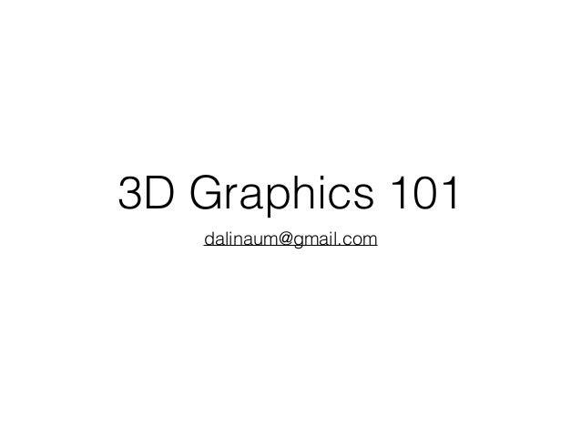 3D Graphics 101 dalinaum@gmail.com