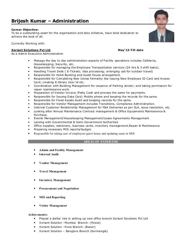 8yrs work experience in Admin Executive-Brijesh Kumar