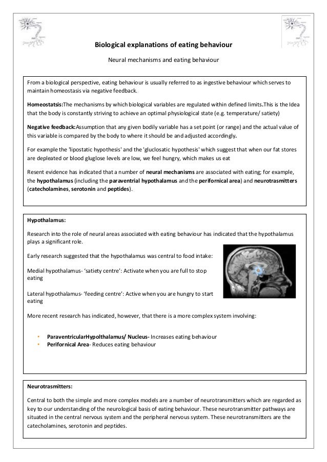 Biological explanations of eating behaviour Neural mechanisms and eating behaviour From a biological perspective, eating b...