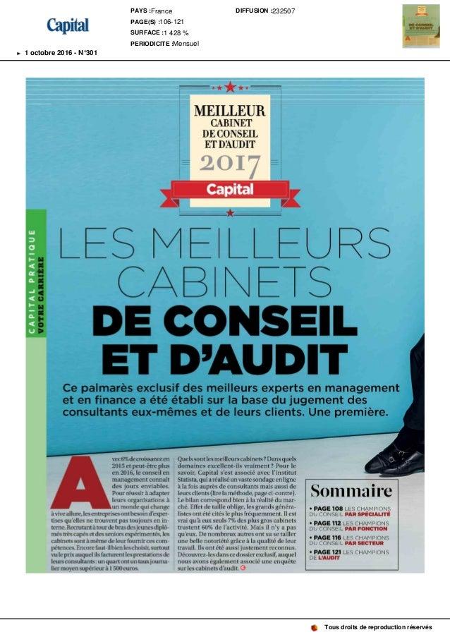 MEILLEUR CABINET DECONSEIL ETDAUDIT 2 017 Capital S M CAB DE CONSEIL ET D' AUDITCe palmarès exclusif des meilleurs experts...