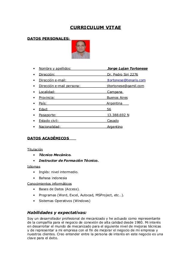 Tortonese\'s CV in Spanish