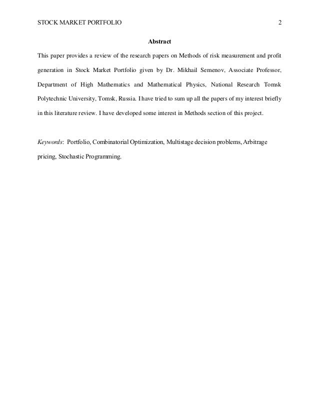 Market risk research paper