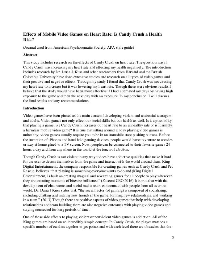 an introduction to the effects of video games on the heart The effect of video game competition on aggressive behavior was then examined in experiment 2  video game competition may influence heart.