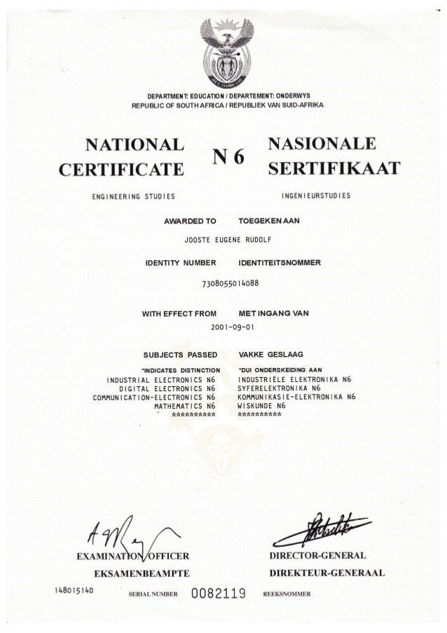 n6 certificate. Black Bedroom Furniture Sets. Home Design Ideas