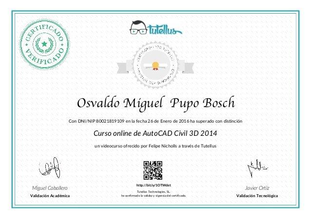 certificado autocad civil 3d 2014 tutellus