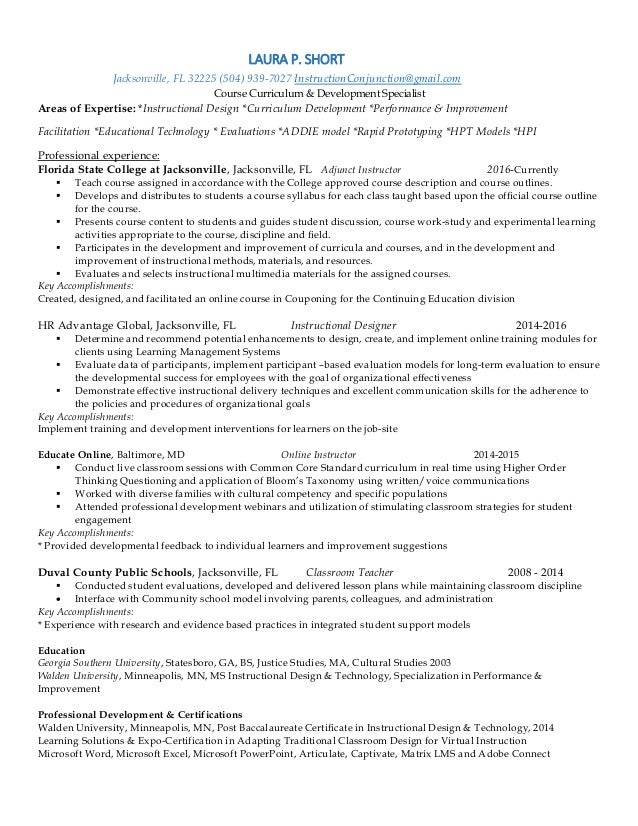 Curriculum Developer Resume