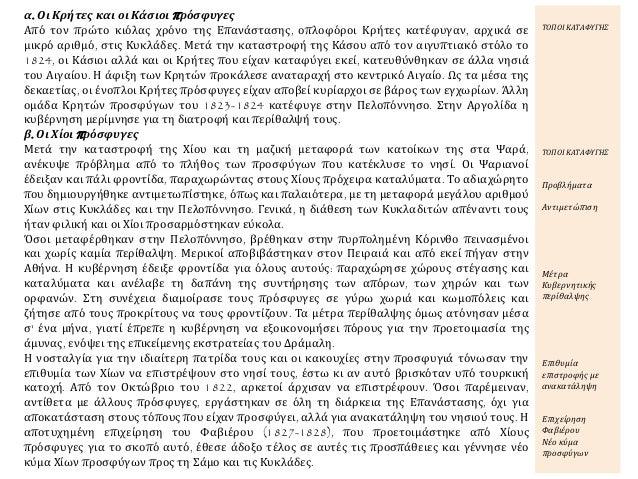 α. Οι Κρήτες και οι Κάσιοι πρόσφυγες Από τον πρώτο κιόλας χρόνο της Επανάστασης, οπλοφόροι Κρήτες κατέφυγαν, αρχικά σε μικ...