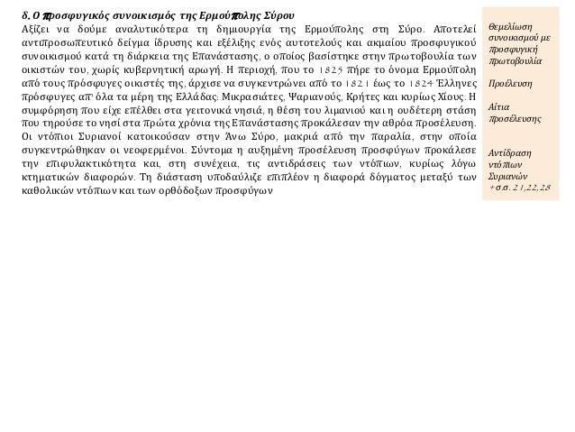 δ. Ο προσφυγικός συνοικισμός της Ερμούπολης Σύρου Αξίζει να δούμε αναλυτικότερα τη δημιουργία της Ερμούπολης στη Σύρο. Απο...