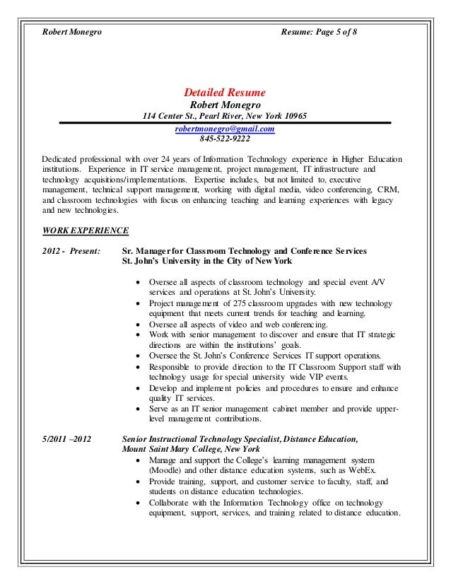 Information Technology Resume Management