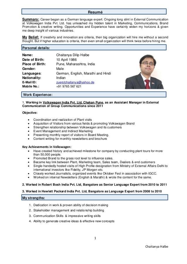 Volkswagen resume