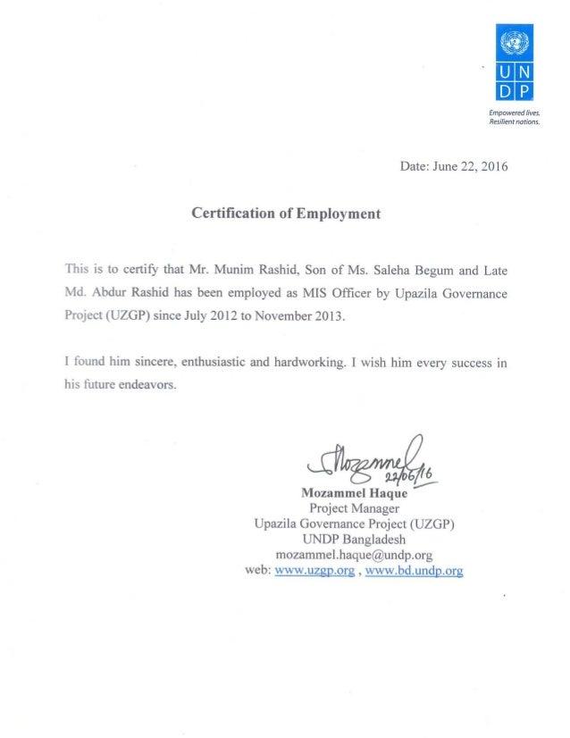 Certificate Employment Undp Uzgp Mis Officer
