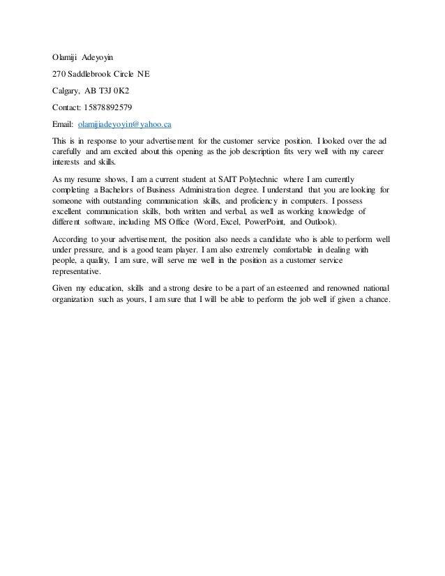 Olamiji Adeyoyin 270 Saddlebrook Circle NE Calgary, AB T3J 0K2 Contact: 15878892579 Email: olamijiadeyoyin@yahoo.ca This i...