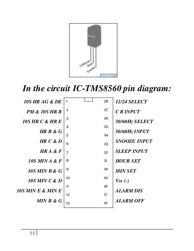 11 In the circuit IC-TMS8560 pin diagram: 1 2 3 4 5 6 7 8 9 10 11 12 13 14 28 27 26 25 24 23 22 21 20 19 18 17 16 15 10S H...