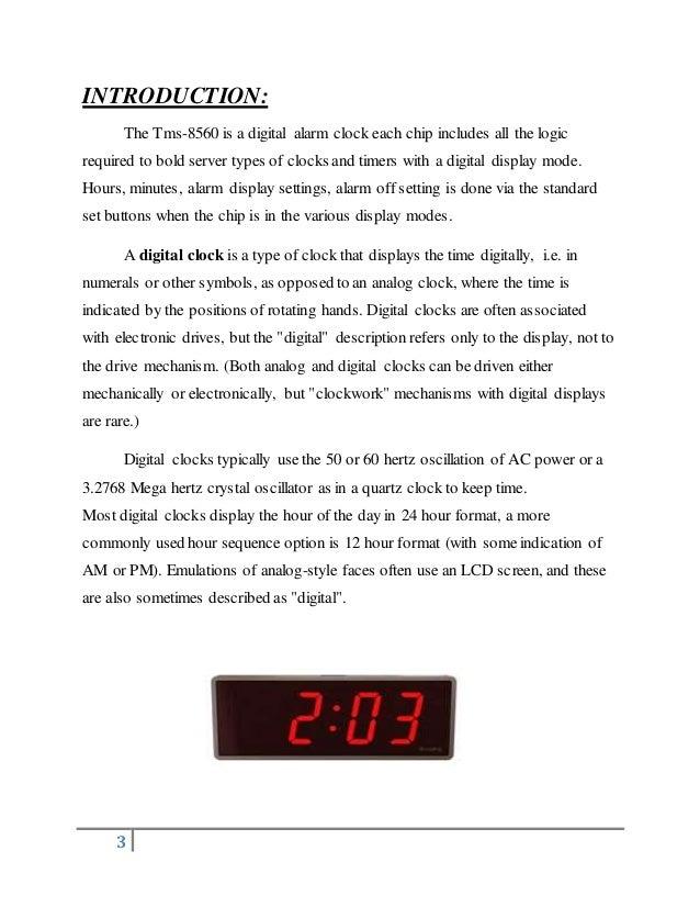 digital alarm clock (ic tms 8560)3 3 introduction the tms 8560 is a digital alarm clock
