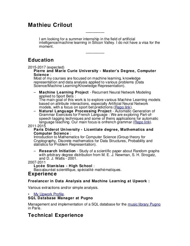 resume mathieu crilout i am looking for a summer internship in the - Machine Learning Resume