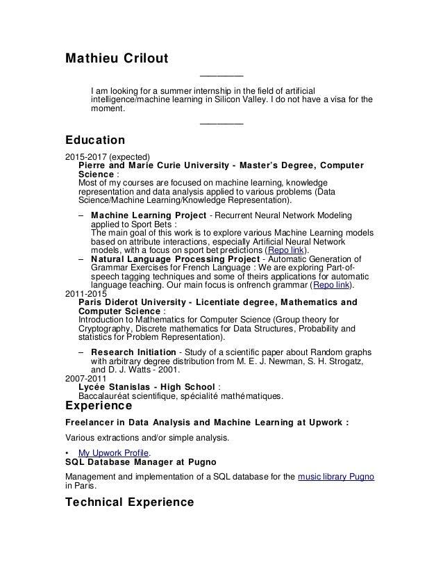 Resume. Mathieu Crilout U2014u2014u2014u2014u2014 I Am Looking For A Summer Internship In The  ...  Machine Learning Resume