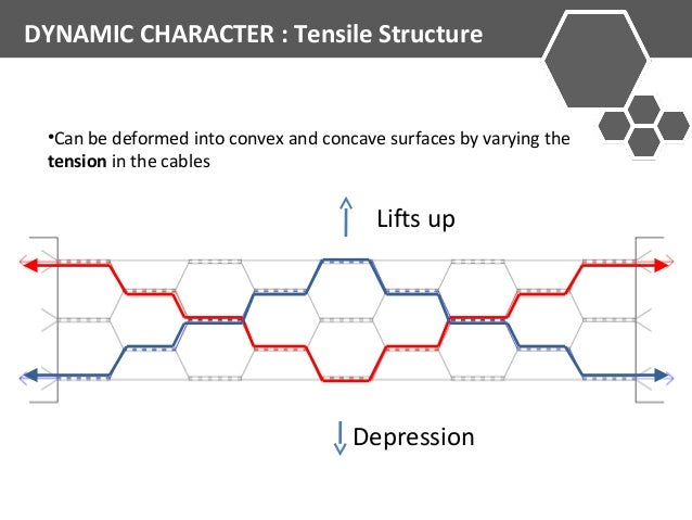 DYNAMIC CHARACTER : Tensile Structure  •Can be deformed into convex and concave surfaces by varying the  tension in the ca...