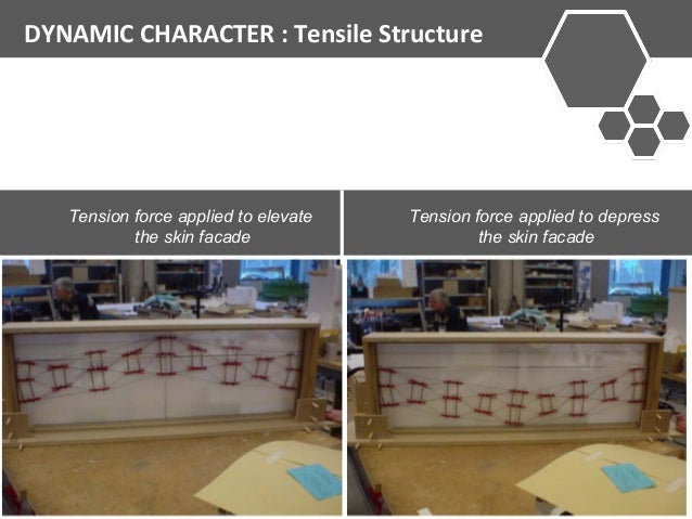 DYNAMIC CHARACTER : Tensile Structure  Tension force applied to elevate  the skin facade  Tension force applied to depress...