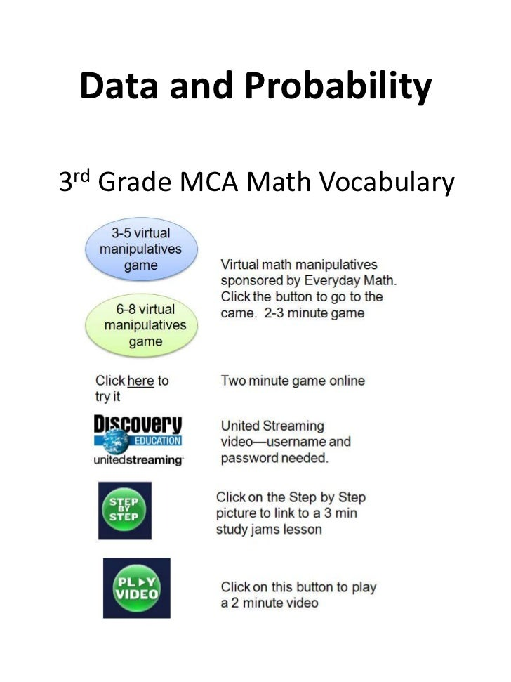 Data and Probability<br />	3rd Grade MCA Math Vocabulary<br />