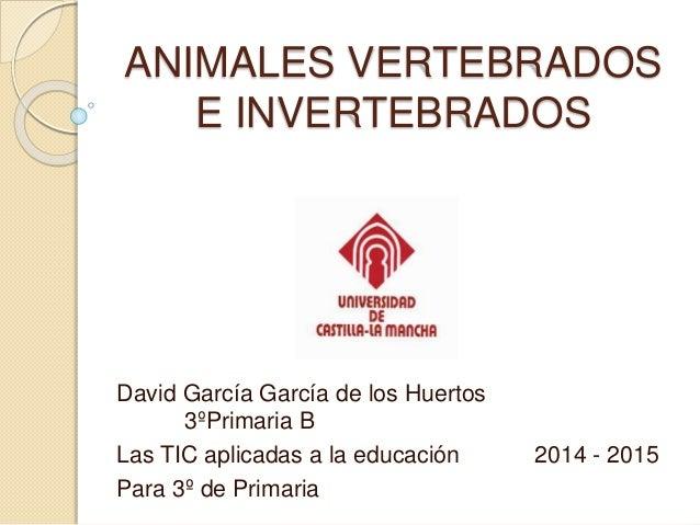 ANIMALES VERTEBRADOS E INVERTEBRADOS David García García de los Huertos 3ºPrimaria B Las TIC aplicadas a la educación 2014...