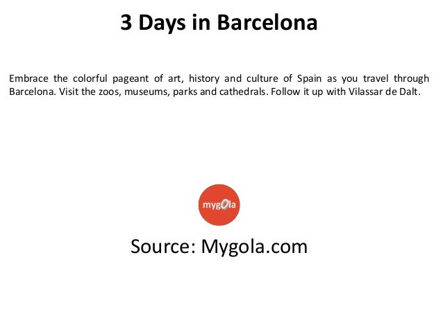 3 Days in Barcelona Embrace the colorful pageant of art, history and culture of Spain as you travel through Barcelona. Vis...