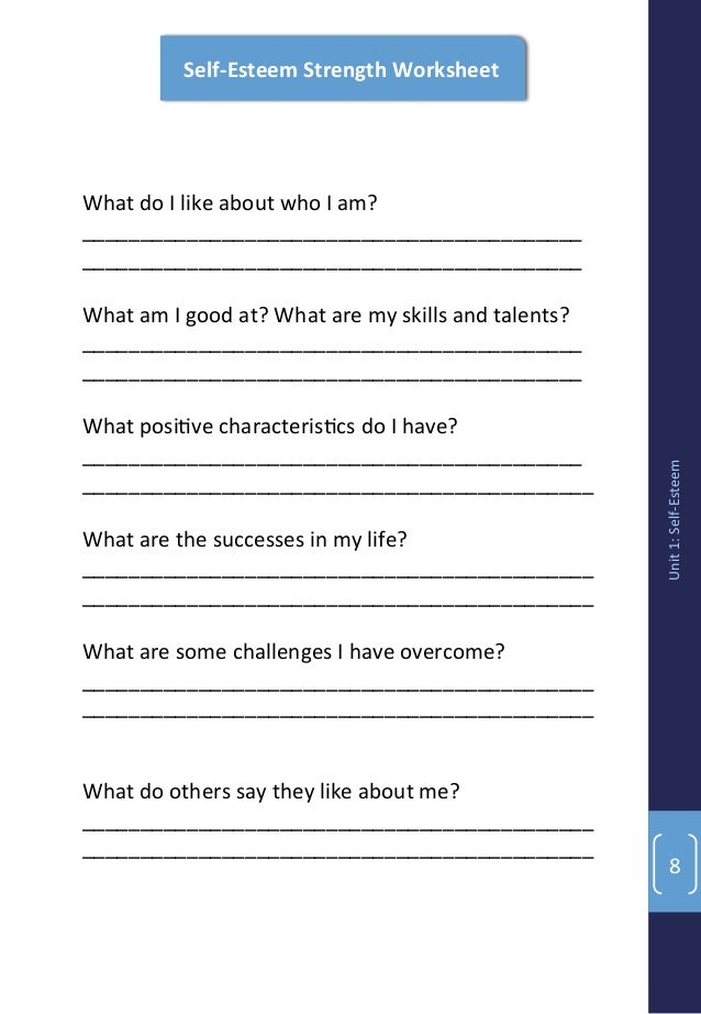 Youth Power Curriculum – Self Acceptance Worksheets