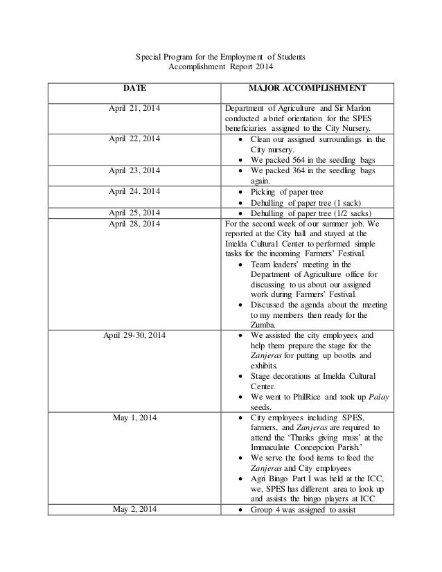 Special Program For The Employment Of Students Accomplishment Report 2014  DATE MAJOR ACCOMPLISHMENT April 21, ...  Accomplishment Report Format