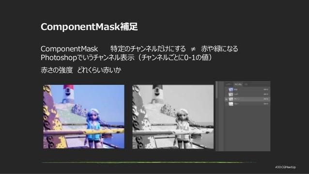#3DCGMeetUp ComponentMask補足 ComponentMask 特定のチャンネルだけにする ≠ 赤や緑になる Photoshopでいうチャンネル表示(チャンネルごとに0-1の値) 赤さの強度 どれくらい赤いか