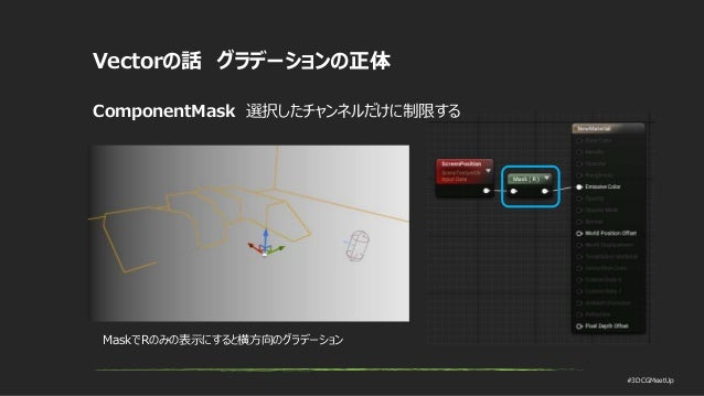#3DCGMeetUp Vectorの話 グラデーションの正体 ComponentMask 選択したチャンネルだけに制限する MaskでRのみの表示にすると横方向のグラデーション