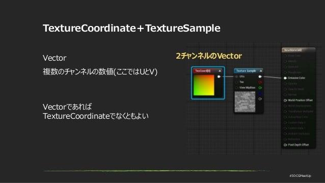 #3DCGMeetUp TextureCoordinate+TextureSample Vector 複数のチャンネルの数値(ここではUとV) 2チャンネルのVector Vectorであれば TextureCoordinateでなくともよい