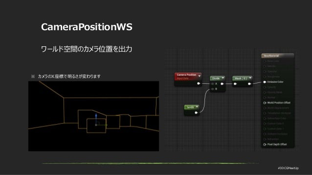 #3DCGMeetUp CameraPositionWS ワールド空間のカメラ位置を出力 ※ カメラのX座標で明るさが変わります