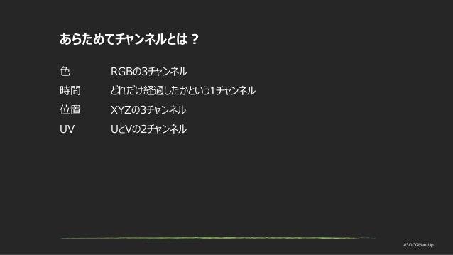 #3DCGMeetUp あらためてチャンネルとは? 色 RGBの3チャンネル 時間 どれだけ経過したかという1チャンネル 位置 XYZの3チャンネル UV UとVの2チャンネル