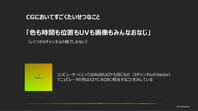 #3DCGMeetUp CGにおいてすごくたいせつなこと 「色も時間も位置もUVも画像もみんなおなじ」 (いくつかのチャンネルの値でしかない) コンピューターにとってはRGBもXZYも同じもの(3チャンネルのVector) マニュピレータの色は...