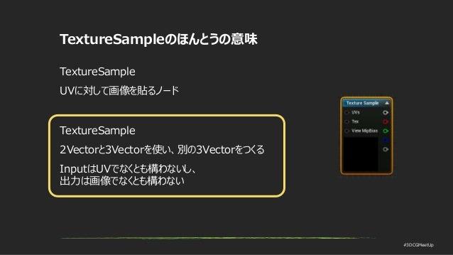 #3DCGMeetUp TextureSampleのほんとうの意味 TextureSample UVに対して画像を貼るノード TextureSample 2Vectorと3Vectorを使い、別の3Vectorをつくる InputはUVでなくと...