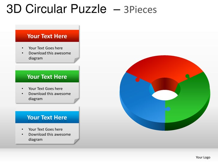 3d Circular Puzzle 3 Pieces Powerpoint Presentation Templates 3D 3Pieces Your Text Here O Goes Download This