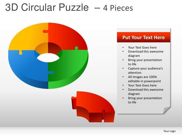 4 3D Circular Puzzle Pieces