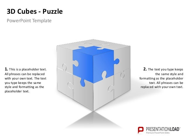 powerpoint 3 d cubes puzzle template, Modern powerpoint