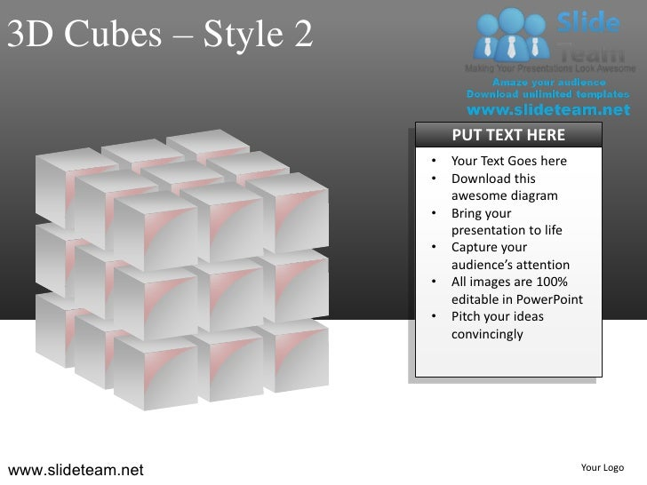 3D Cubes – Style 2                         PUT TEXT HERE                     •   Your Text Goes here                     •...