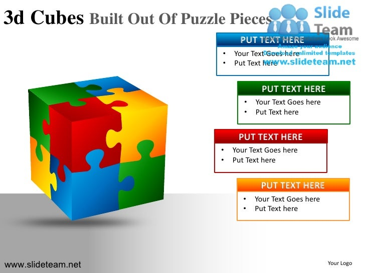 3d cubes building blocks stacked built out of puzzle powerpoint ppt s. Black Bedroom Furniture Sets. Home Design Ideas