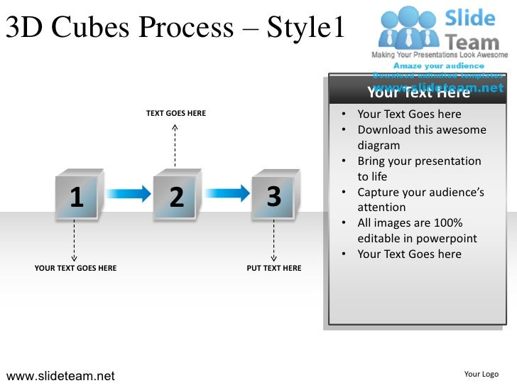 3D Cubes Process – Style1                                                               Your Text Here                    ...