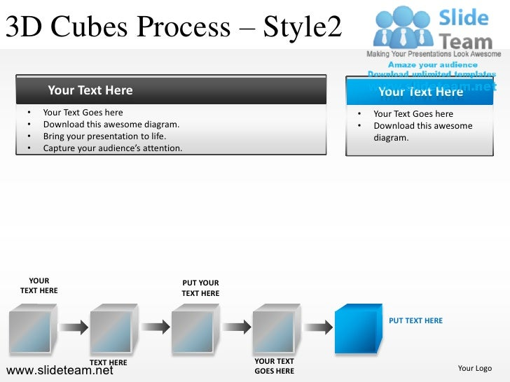 3D Cubes Process – Style2        Your Text Here                                               Your Text Here   •   Your Te...