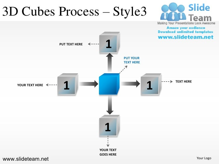 3D Cubes Process – Style3                      PUT TEXT HERE                                         1                    ...