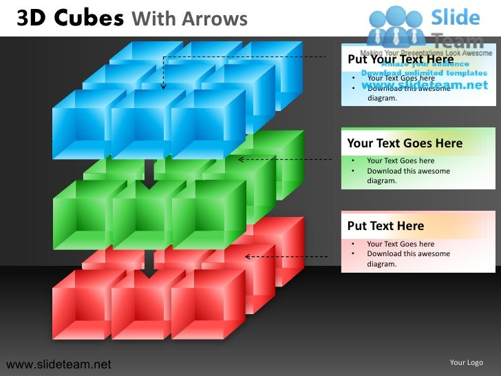 3d cubes building blocks stacked with arrows powerpoint ppt templates. Black Bedroom Furniture Sets. Home Design Ideas