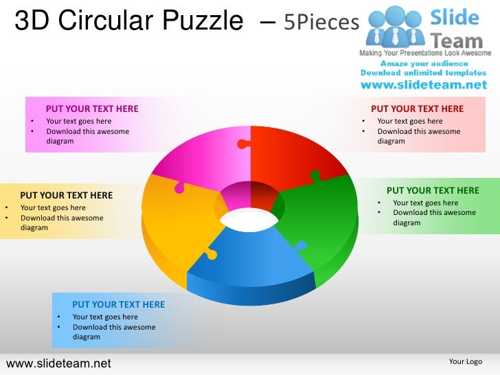 3d cycle circular round jigsaw maze piece puzzle 5 pieces powerpoint 3d circular puzzle 5pieces put your text here put your text here ccuart Gallery
