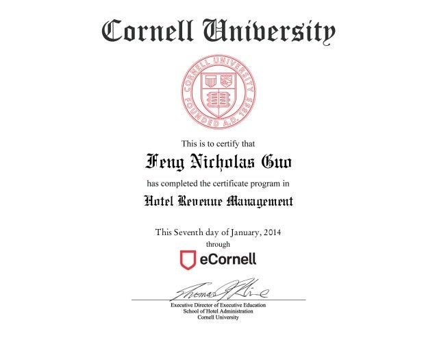 eCornell Hotel Revenue Management Certification