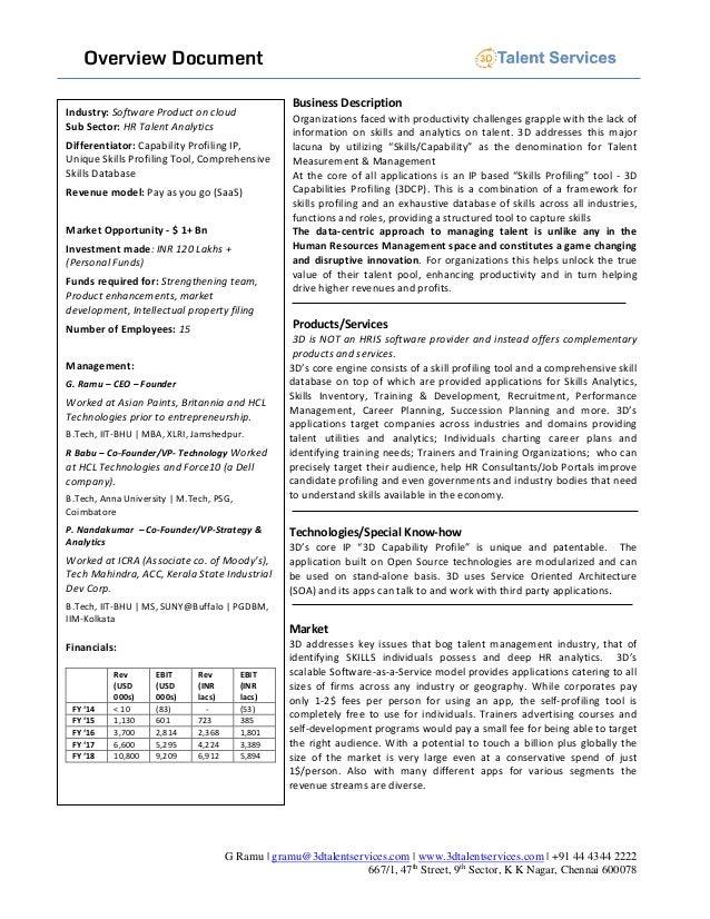 Overview Document G Ramu | gramu@3dtalentservices.com | www.3dtalentservices.com | +91 44 4344 2222 667/1, 47th Street, 9t...