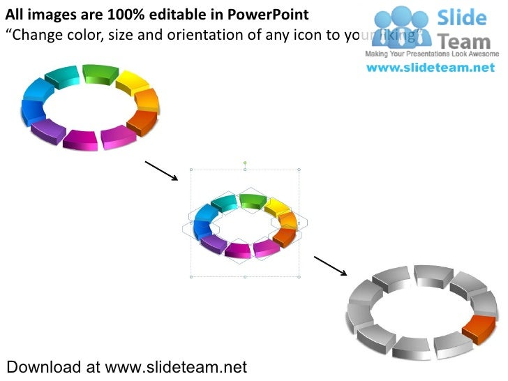 3 D Display Pie Chart Process 10 Pieces Powerpoint Presentation Slid