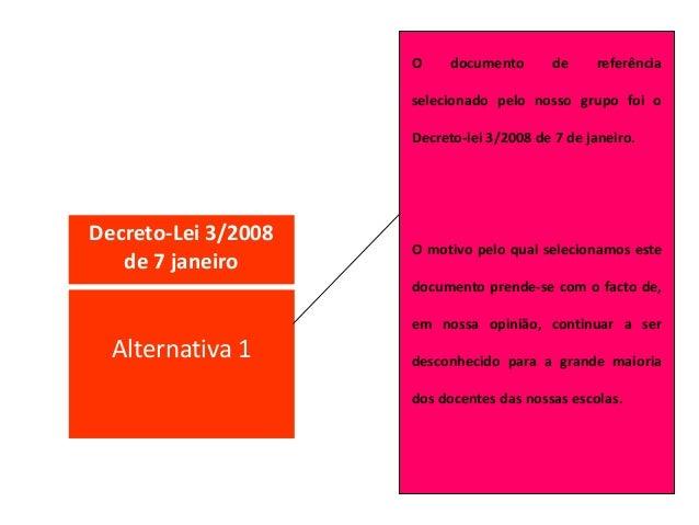 Decreto-Lei 3/2008 de 7 janeiro O documento de referência selecionado pelo nosso grupo foi o Decreto-lei 3/2008 de 7 de ja...